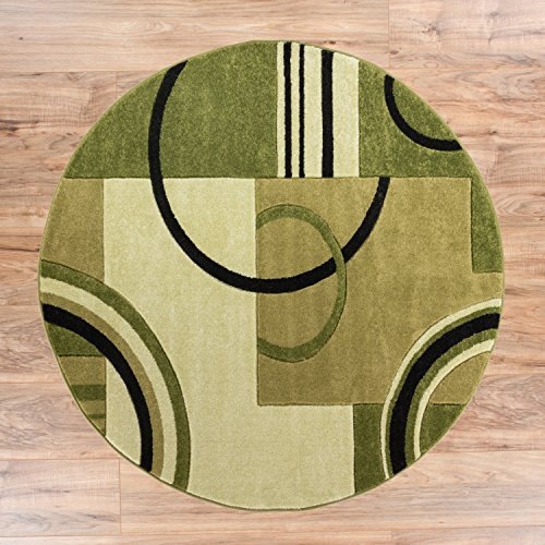 Echo Shapes & Circles Light Green Modern Geometric Comfy Casual Hand Carved Round Area Rug 5 ( 5'3