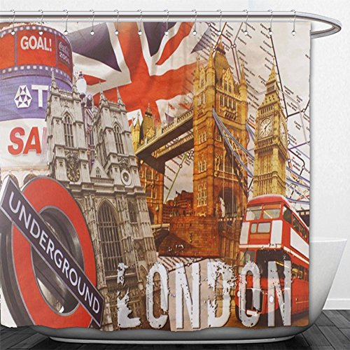 Beshowere Shower Curtain Souvenir Metal Tin Sign Plate Plaque (London Underground).jpg
