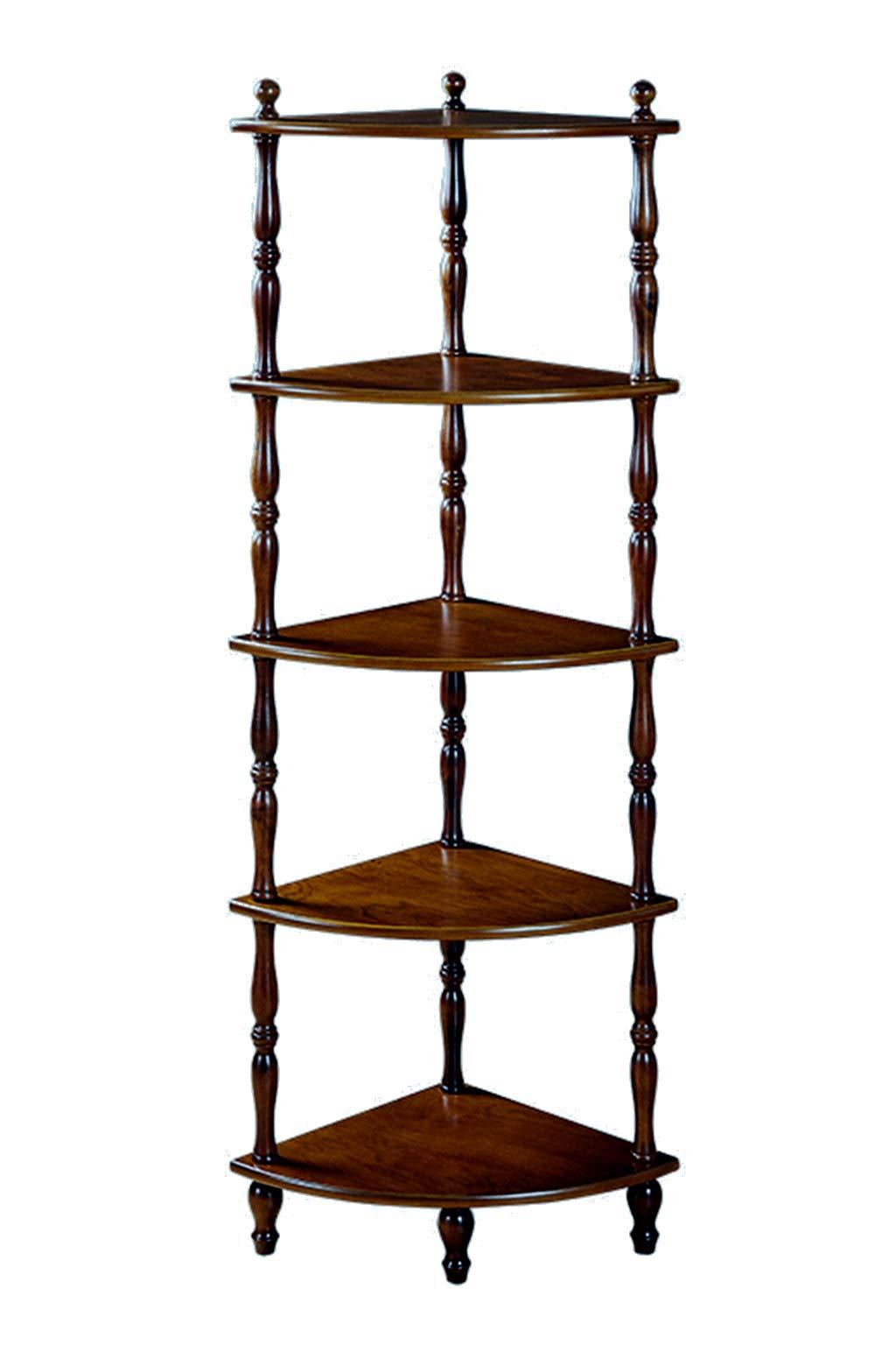 HAFurniture Classic 5 Tier Bookcase Shelf, Elegant Stand Wooden Rustic Corner Shelves Rack with 4 Leg Supports (Black Walnut)