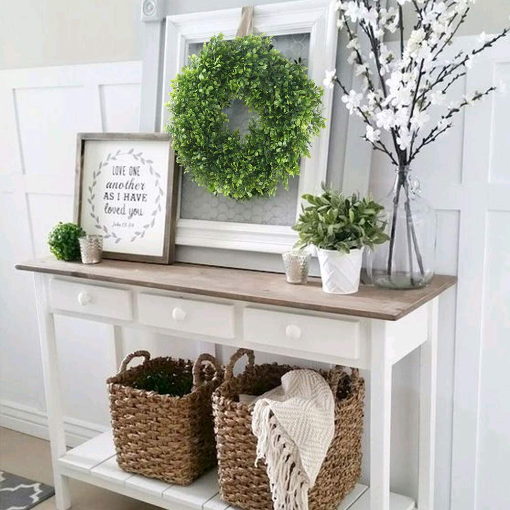 GTIDEA 18 inches Front Door Decor Wreath Outdoor Artificial Boxwood Wreath Fake Greenery Garland with Dried Grape Vine Base Farmhouse Decoration for Home Garden Office Wall Wedding