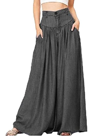 bedaa3b351b M S W Women Plus Size High Waisted Denim Wide Leg Palazzo Jeans Pants at  Amazon Women s Jeans store