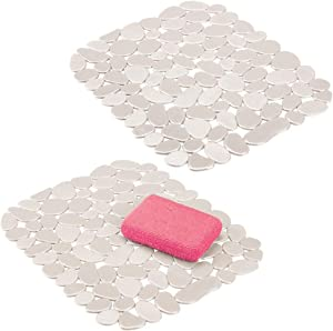 mDesign Adjustable Kitchen Sink Dish Drying Mat/Grid - Soft Plastic Sink Protector - Cushions Sinks, Stemware, Glasses, Dishes - Quick Draining Pebble Design - Small, 12.4