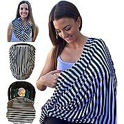 Mom & Bebe Nursing Cover / Scarf / Baby Car Seat Cover with Baby Bib, Black & White Stripe, 70 x 170 cm