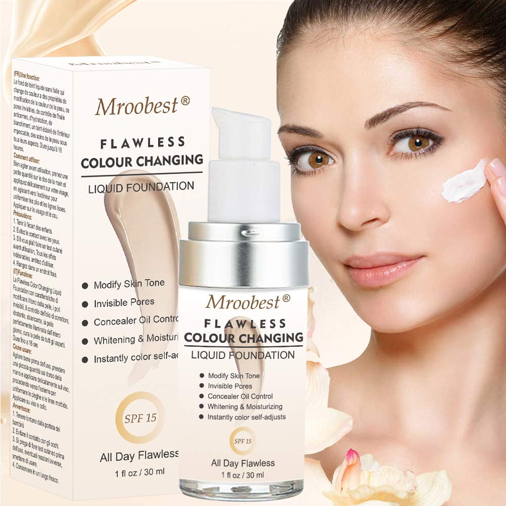 Flawless Finish Foundation,Colour Changing Liquid Foundation, Liquid Foundation Cream,Moisturizing Liquid Cover Concealer for All Skin Types, SPF 15,1 Fl Oz by CIDBEST (Image #7)