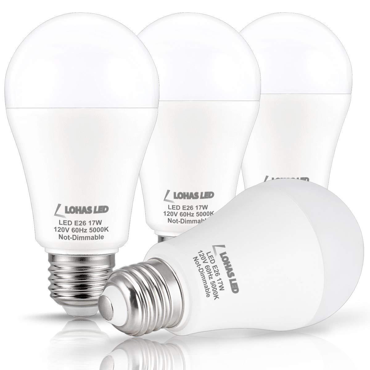LOHAS LED Bulb 100-150W Equivalent(UL Listed), LED Light Bulbs Daylight 5000k, White A19 Bulb 17W, E26 Edison Base LED Lights, LED Home Lighting Lamps, ...