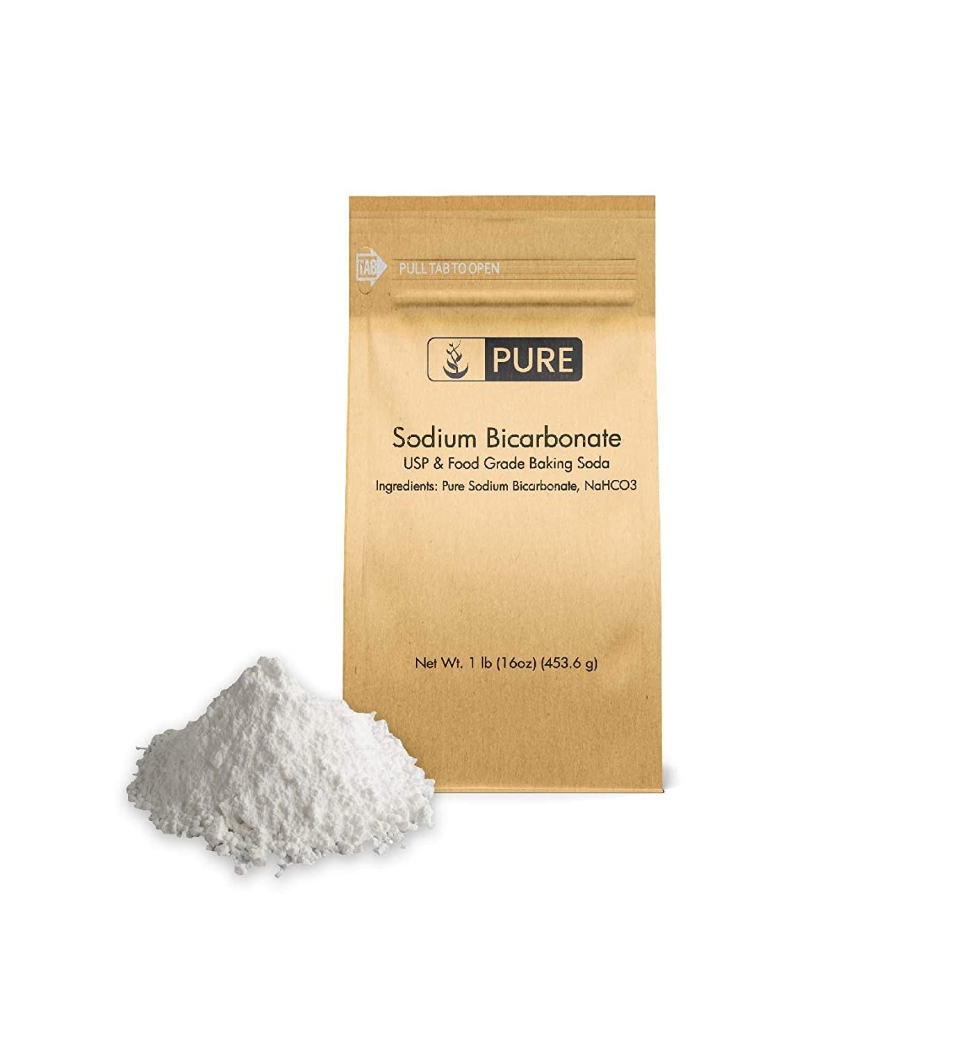 Sodium Bicarbonate (Baking Soda) (1 lb.), Environmentally-Friendly Packaging, Pure, Food & USP Grade by Pure Organic Ingredients