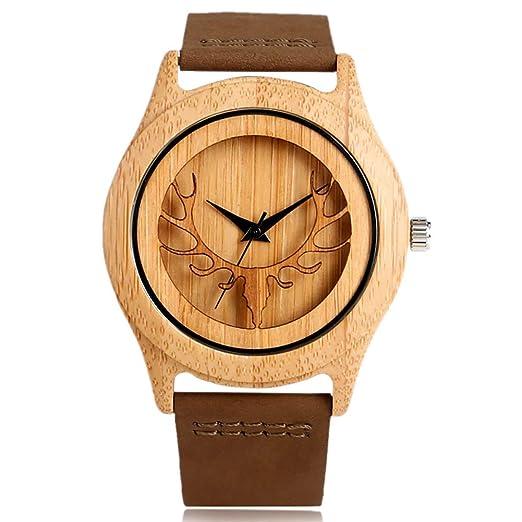 Bracelet Cuir De Tête Bois MontreHomme Véritable Bambou En Cerf rhdCtQxs