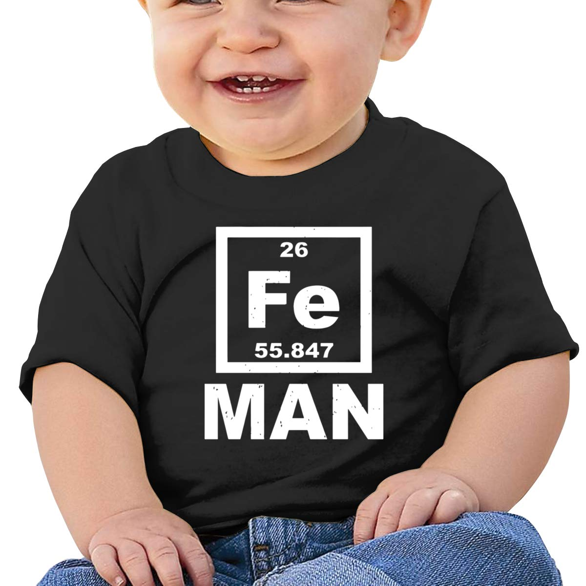 Qiop Nee Iron Science Fe Periodic Table 2 Short Sleeves T-Shirts Baby Boy
