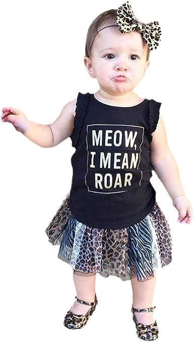 Camiseta Tops y Falda de Leopardo para bebé niñas, Camisa sin ...