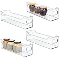 mDesign Slim Stackable Plastic Kitchen Pantry Cabinet, Refrigerator or Freezer Food Storage Bin with Handles - Organizer…