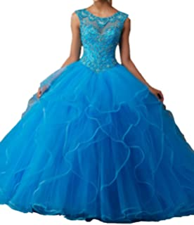 JinJia Generous Women Long Ball Gown Crystals Sweet 16 Prom Quinceanera Dress