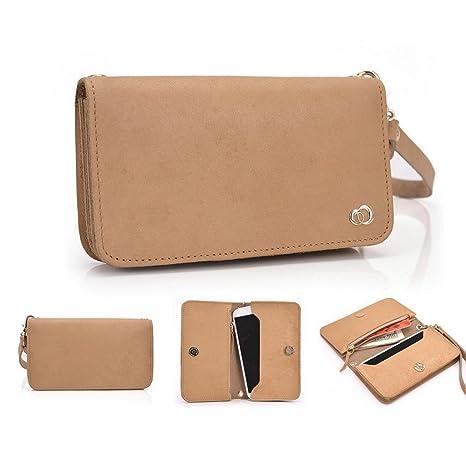 Kroo Genunie Cuero Embrague Cartera duro para 12,7 cm Smartphone Funda de transporte para