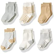 Touched by Nature Baby Organic Cotton Socks, Neutral Stripes 6Pk, 0-6 Months