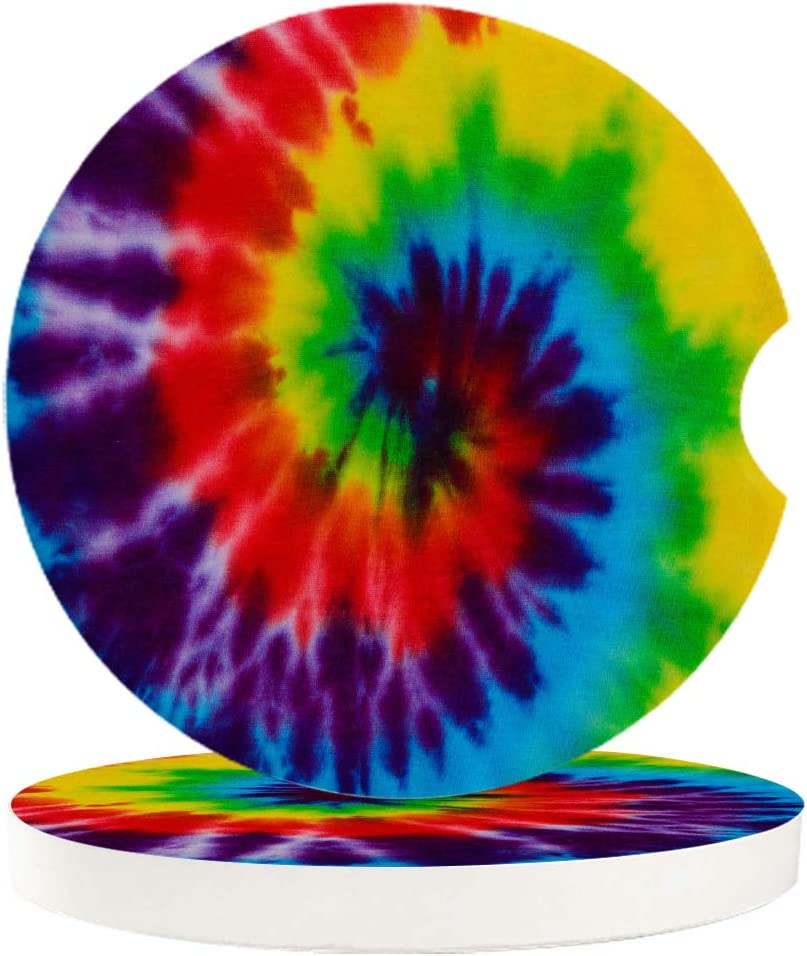 Chic D Drinks Car Coasters 4 Pack for Women/Men, Absorbent Ceramic Automotive Cup Holder Coaster Set, Rainbow Tie Dye Funny Car Accessories for Car Living Room Kitchen Office, Ethnic Tribe