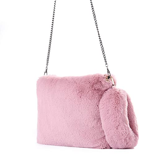 MaxFox Women Winter Warm Faux Fur Shoulder Bag Laides Plush Chain Messenger Tote  Handbag for Wedding 9f47d2cb1b02d