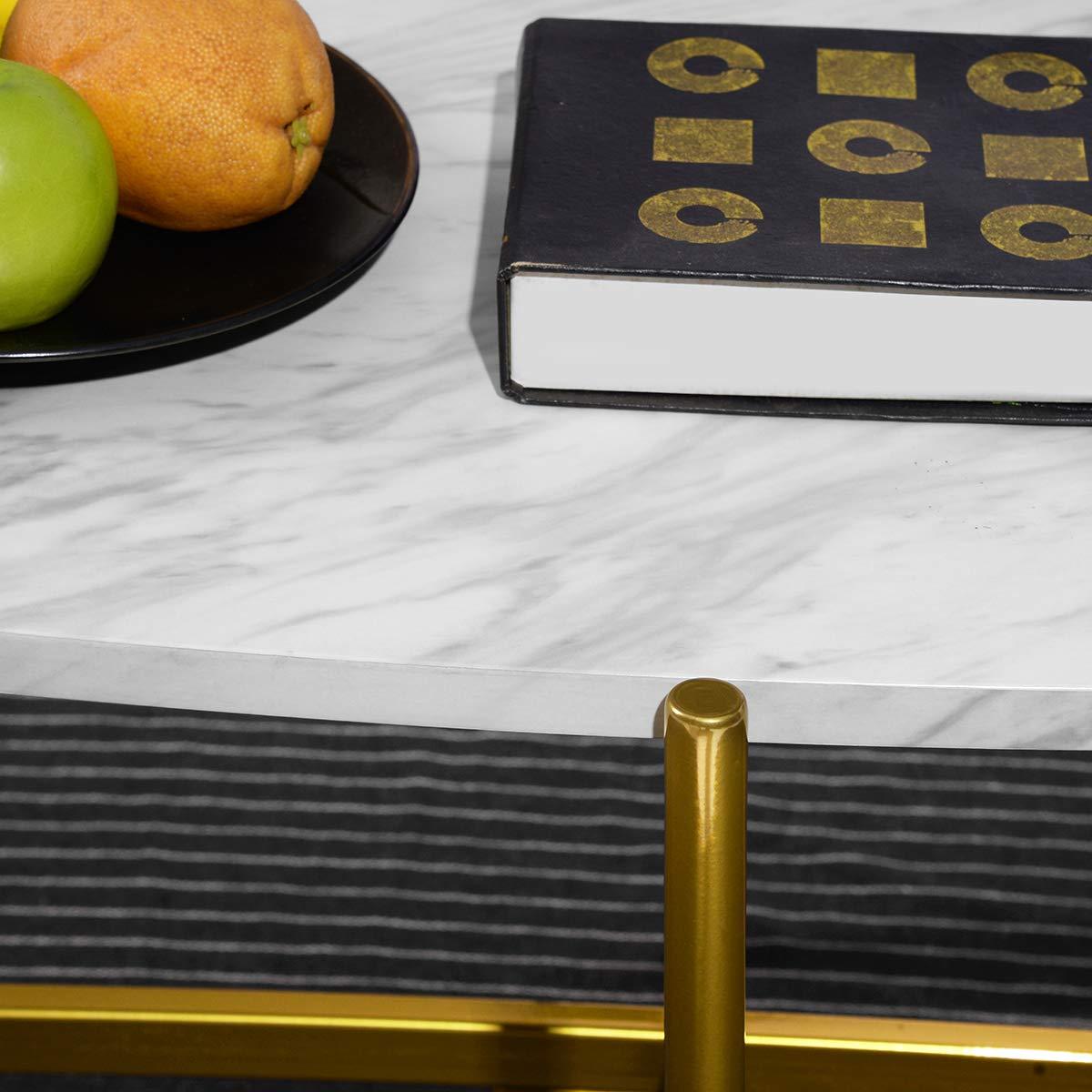 marbling Marmorizzato. FURNITURE-R France Tavolino da caff/è Ovale per Salotto Moderno Laterale//terminale//Lampada//tavolino