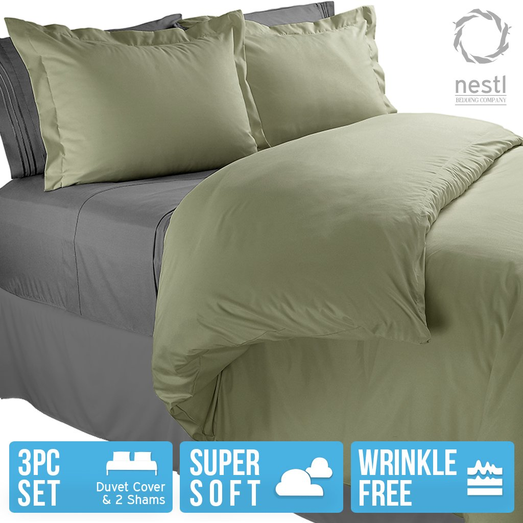 Nestl Bedding 3-Piece Microfiber Full Duvet Cover Set Sage Green