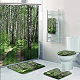 Philip-home 5 Piece Banded Shower Curtain Set Road in a Birch Wood Decorate The Bath