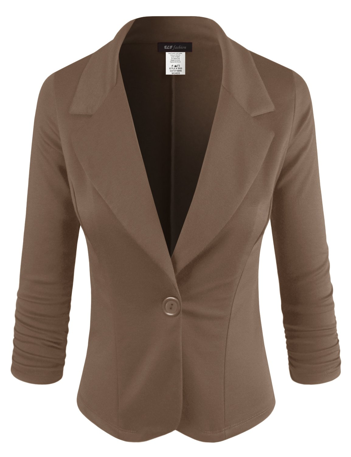 ELF FASHION Women Casual Work Knit Office Blazer Jacket Made In USA (Size S~3XL) BROWN 3XL