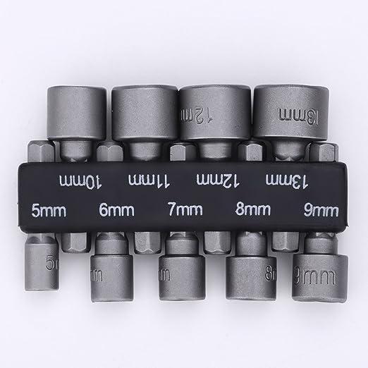 9* 1//4 HEX Magnetic Nut Driver Socket Metric Drill Bit 5//6//7//8//9//10//11//12//13mm