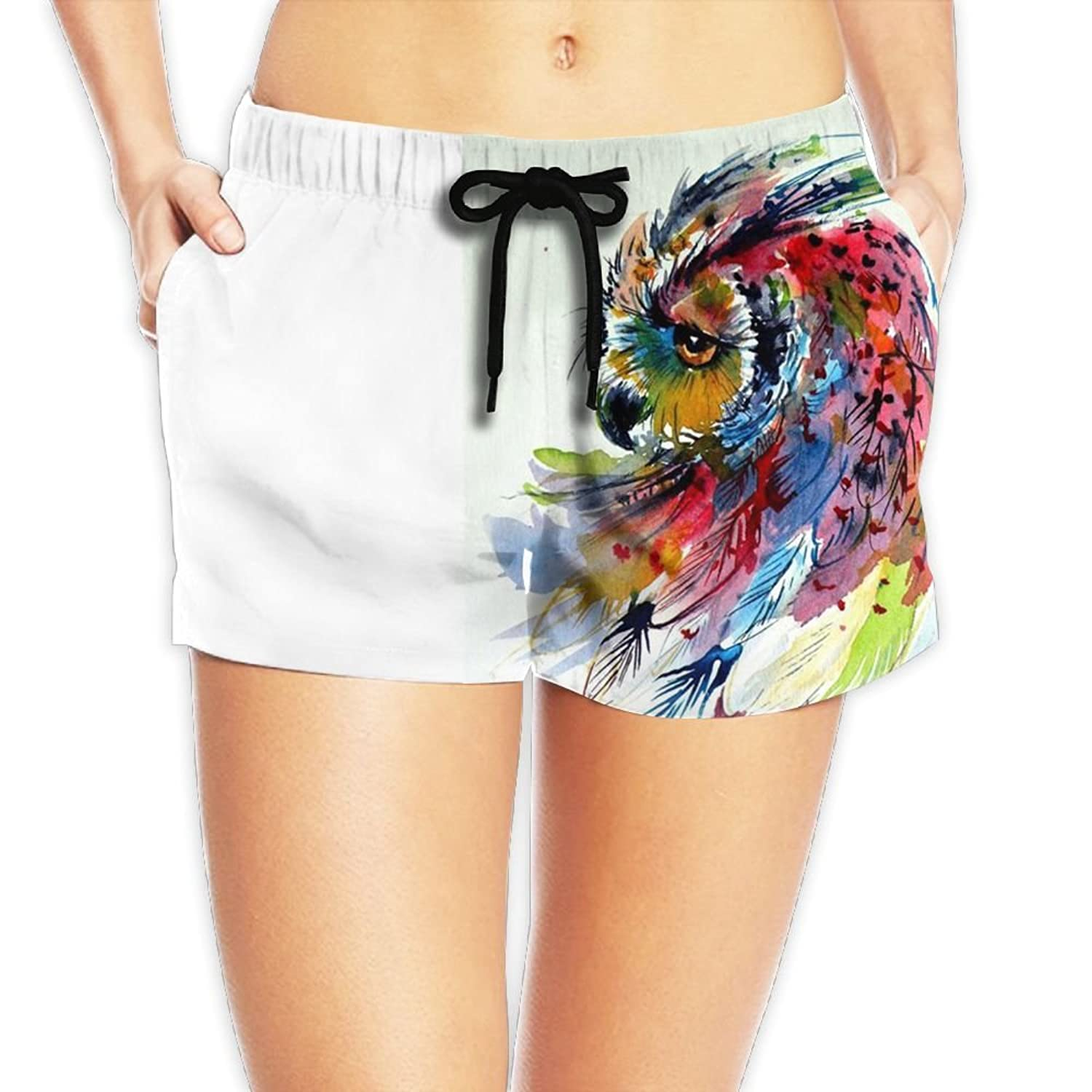 60%OFF YUC-CP Summer Watercolor Owl Elastic Waistband Swimming Trunks with  Drawstring ceb17c2f1