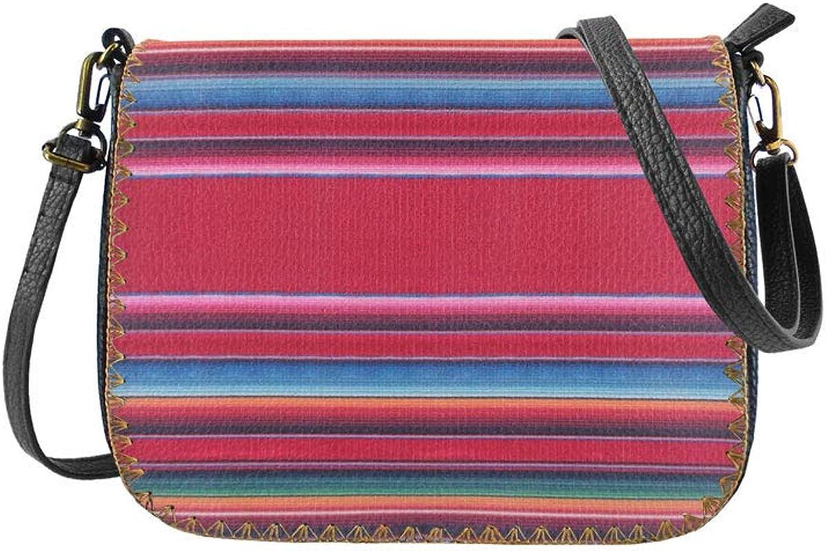 Mlavi Mexican Serape stripe textile pattern print vegan//faux leather cross body bag