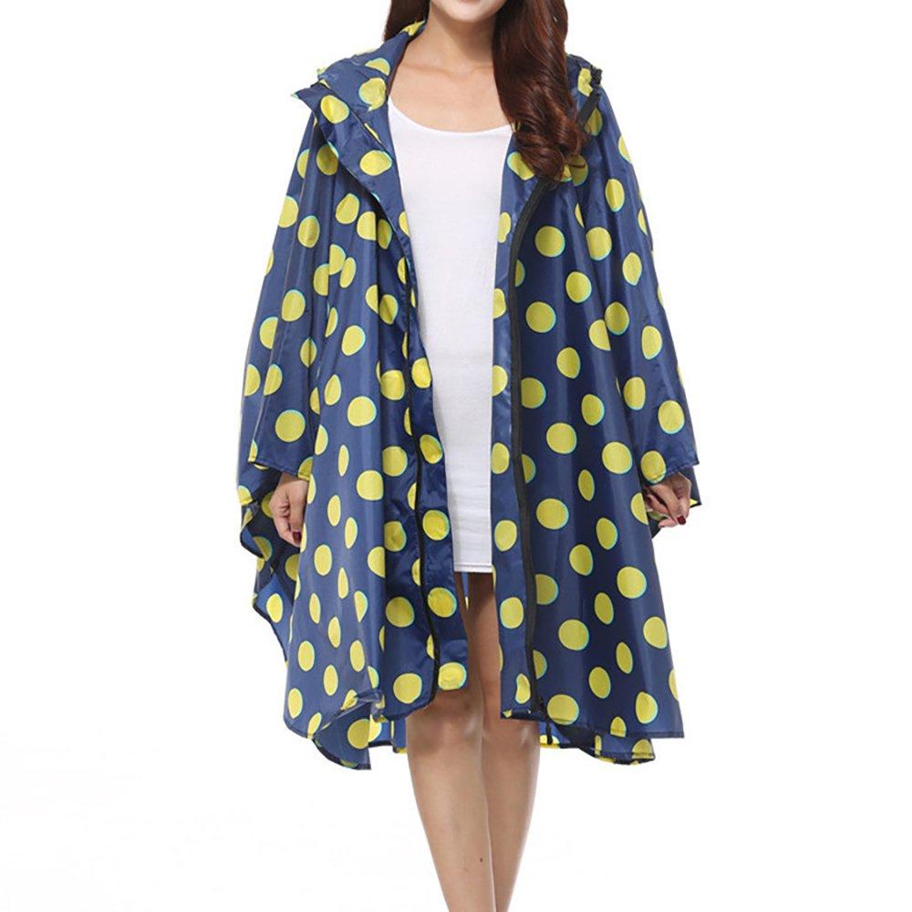 QZUnique Lightweight Outdoor Hooded Waterproof Packable Rain Poncho Jacket Coat Raincoat with Zipper for Adults raincoat-2018.05.15.13