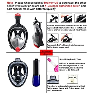 Easy Breath Snorkeling Mask 2017 New Easy Fold 180° Panoramic Full Face Diving Scuba Mask with Detachable GoPro Mount Pivot Arm and Earplug, Anti fog Dry Snorkel Set with Backpack for Adults Youth S M