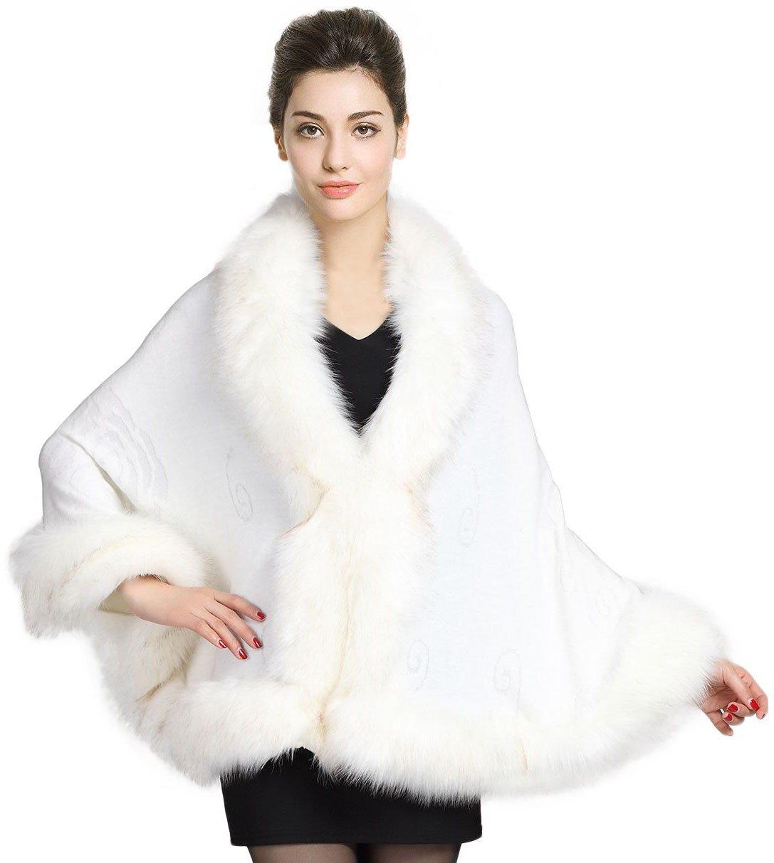 Faux Fur Shawl Wrap Stole Shrug Bridal Winter Wedding with Hook White