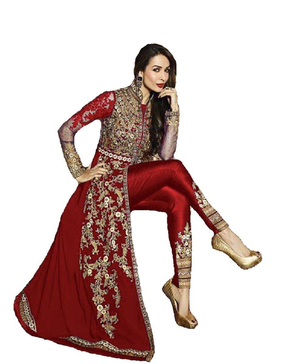 Delisa New Indian/Pakistani Designer Georgette Party Wear Anarkali Suit VF-3 (Customize Stitch, Red)