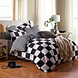 ZHIMIAN Microfiber Modern 3 Piece Reversible Duvet Cover Sets Black and White Contrast -1 Duvet Cover + 2 Pillow Shams(Queen Grid)