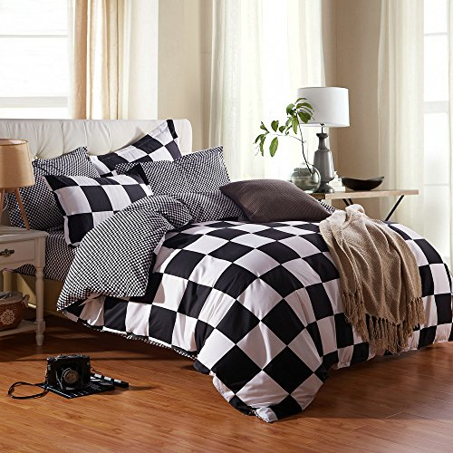 ZHIMIAN Microfiber Modern 3 Piece Reversible Duvet Cover Sets Black and White Contrast -1 Duvet Cover + 2 Pillow Shams(King (100 Block Grid)