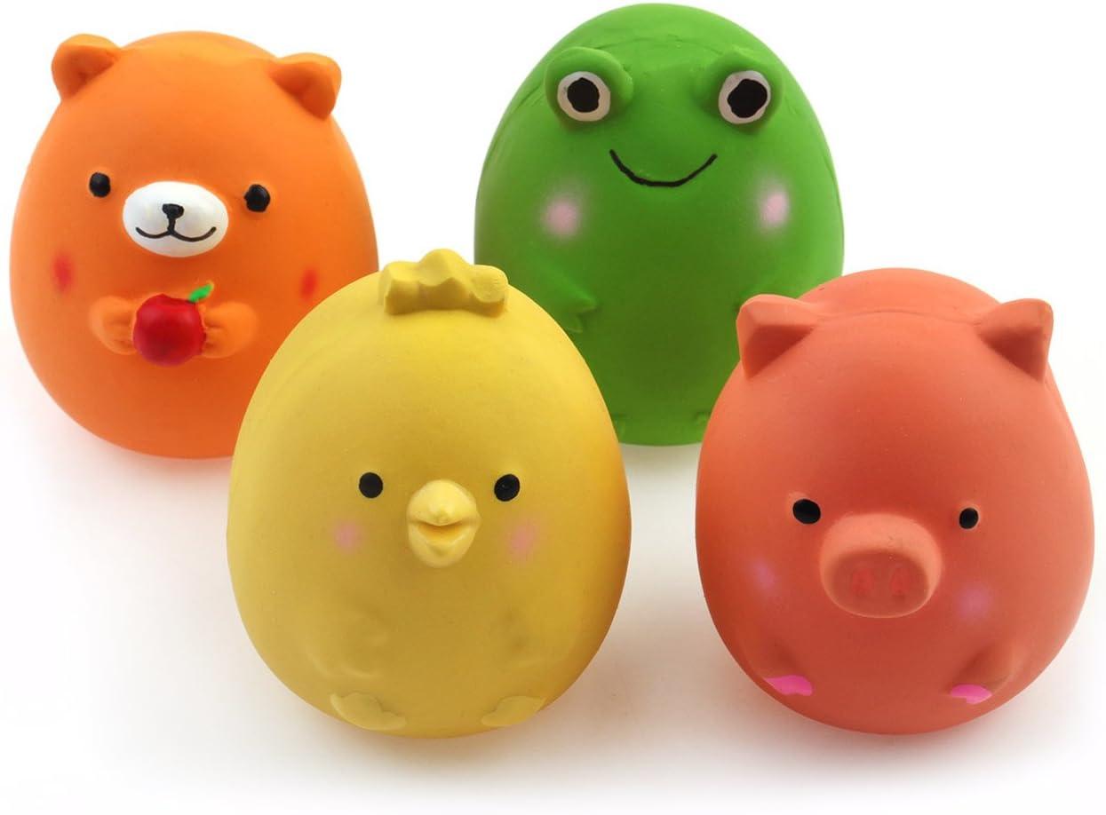 Chiwava 4PCS 6 cm Squeak látex juguetes para cachorros divertido animal conjuntos mascota interactiva jugar para pequeño perro, varios colores