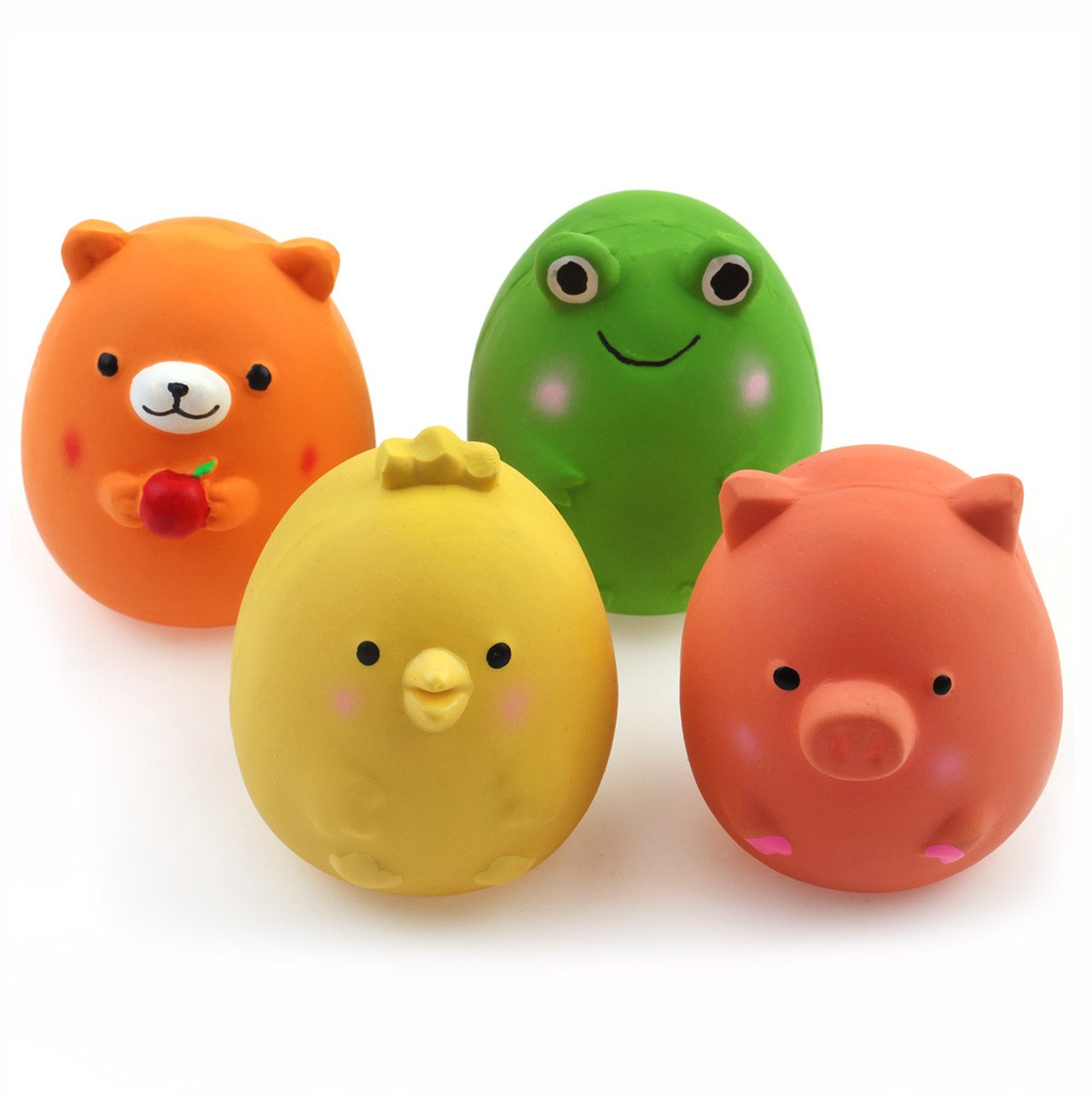Chiwava 4PCS 6 cm Squeak látex juguetes para cachorros divertido animal conjuntos mascota interactiva jugar para
