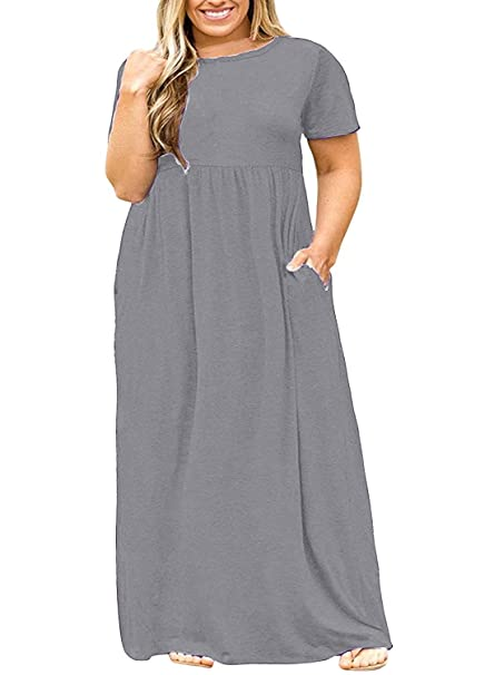 Syktkmx Womens Plus Size Maternity Short Sleeve Empire Waist Summer Maxi  Dress with Pockets
