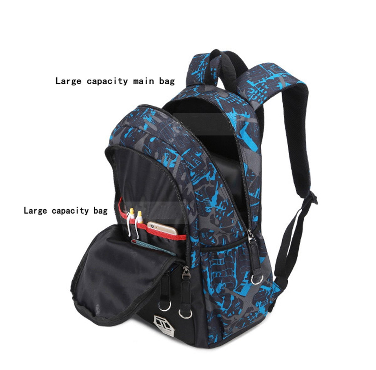 d177ed5fd85f Mioy teenager school bag Canvas printing Backpack durable student bag Large  Capacity 15 inch laptop daypack 3 pieces set (Blue)