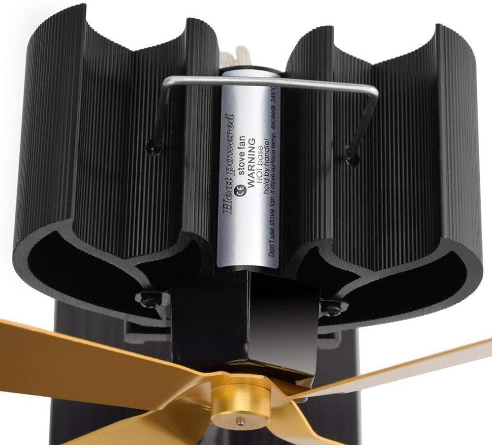 aspa de ventilador extendida y aluminio anodizado negro de peque/ño tama/ño y alta calidad Ventilador de cocina de 4 aspas Operaci/ón silenciosa Ventilador de chimenea para quemador de le/ña negro