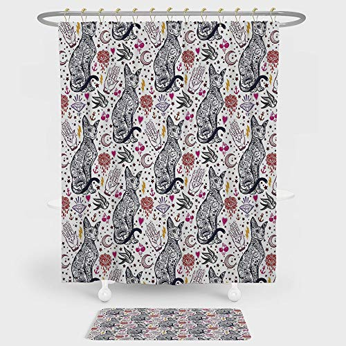 iPrint Egyptian Shower Curtain And Floor Mat Combination Set Traditional Tattoo Pattern with Gothic Magic Icons Witchcraft Symbols Kitty Hands For decoration and daily use Multicolor