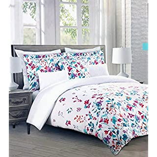 Cynthia Rowley Bedding 3 Piece Full/Queen Size Duvet Comforter Cover Set  Bright Floral Flowers