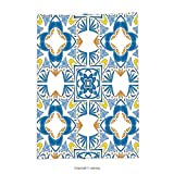 Custom printed Throw Blanket with Traditional House Decor Tunisian Mosaic with Azulojo Spanish Influence Authentic Retro Islamic Blue Super soft and Cozy Fleece Blanket