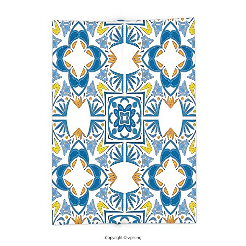 Custom printed Throw Blanket with Traditional House Decor Tunisian Mosaic with Azulojo Spanish Influence Authentic Retro Islamic Blue Super soft and Cozy Fleece Blanket by vipsung