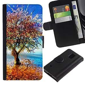 EJOY---Tirón de la caja Cartera de cuero con ranuras para tarjetas / Samsung Galaxy S5 V SM-G900 / --Árbol colorido