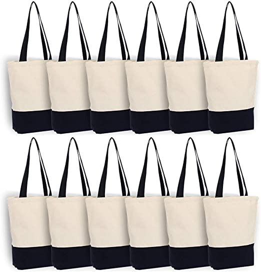 Amazon.com: Canvas Bags Heavy Duty 12 oz with Bottom Gusset Grocery Beach Shopping Bag 17x14x4 Inches (Dark Blue - 12 Pack): Shoes