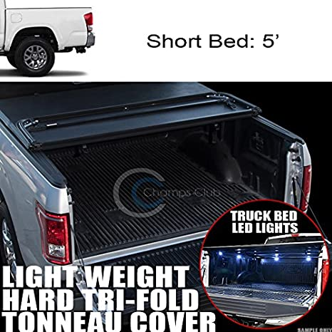 "Fits 19 Dodge Ram 1500 6.4 Ft 76.8/"" Bed Hidden Snap-On Tonneau Cover+LED Lights"