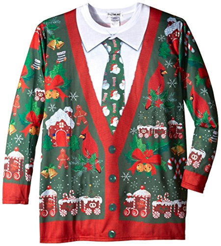 Faux Real Men's Big-Tall Ugly X-Mas Cardigan Long Sleeve ...