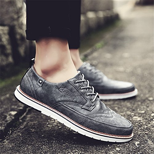 Primavera XUE formale Pure Grey up da Business Traspirante Scarpe Pure Pure Black Bianco Estate Lace Shoe PU uomo Business Scarpe leggero lavoro Brown D Casual ZIrZCwq