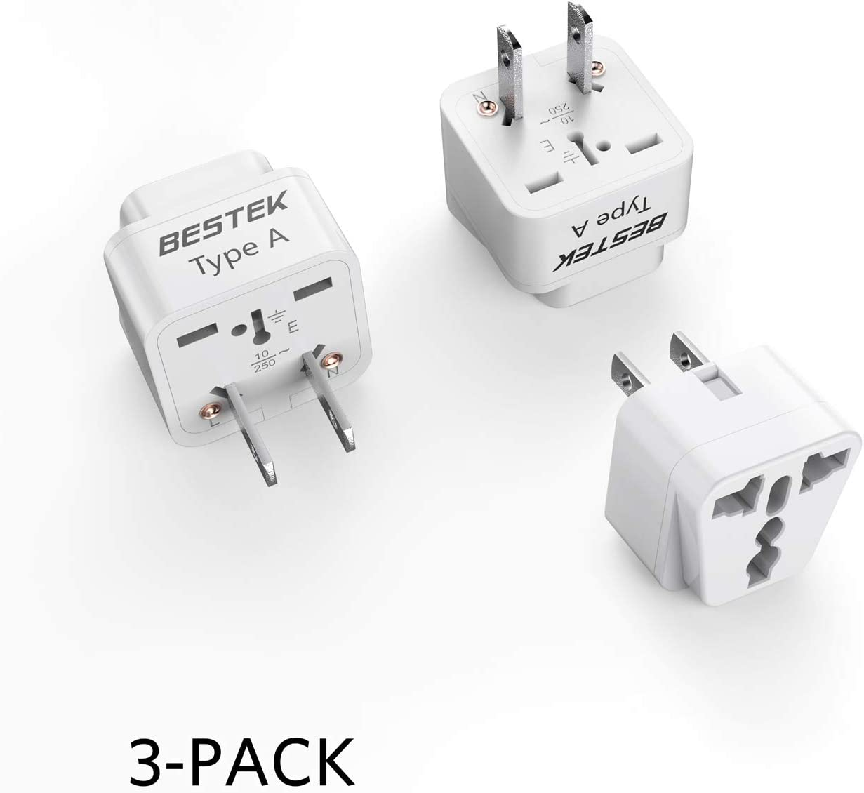 BESTEK Japan Travel Plug Adapter, Grounded Universal Type A Plug Adapter JP to US Adapter - Ultra Compact for US, Japan, China Phones, Laptops, Camera Chargers and More, 3 Pack
