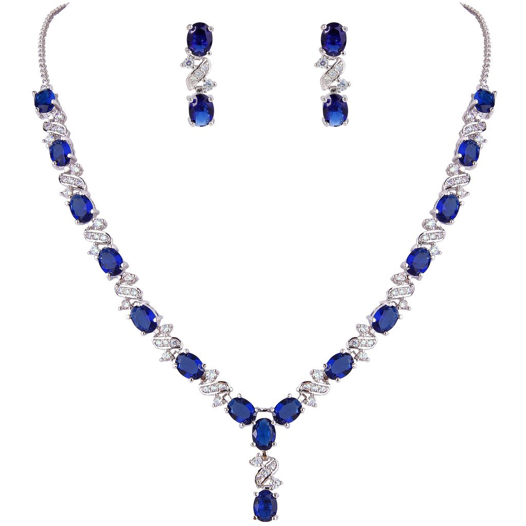 EleQueen Women's Silver-Tone Cubic Zirconia Oval Shape Leaf Necklace Earrings Set for Brides and Weddings Sapphire Color