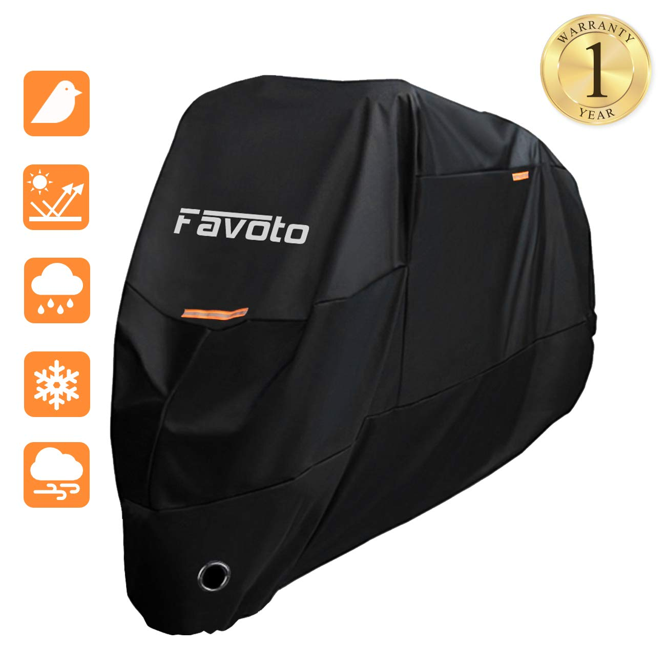 "Favoto Motorcycle Cover Waterproof Motorbike Cover 190T Sun Outdoor Protection Motorbike Rain Cover Windproof Anti UV Scratch Bird Droppings with Storage Bag 104"" Orange Black"
