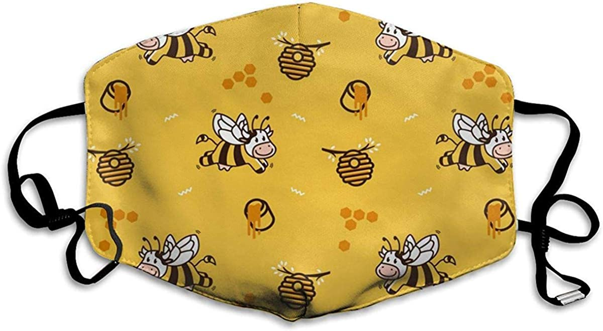 Happy Cartoon Cow Bee Honey Hive Graphic Adjustable Fashion Earloop Dust Cover Face and Nose Dustproof Cover Best Face Protection